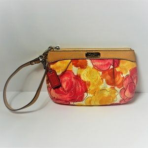 Coach Floral yellow and pink wristlet